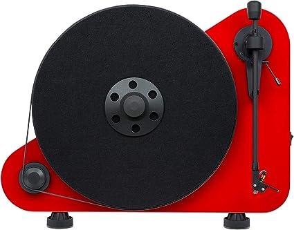 Pro-Ject VT-E L - Tocadiscos (Tocadiscos de tracción por Correa, Semiautomático, Rojo, Aluminio, Acero Inoxidable, Silicio, MDF)