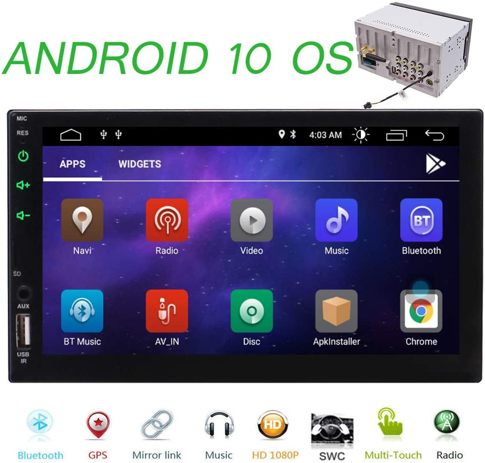 Android 10.0 Car Stereo Double Din GPS Navigation Stereo 7 Inch HD Touch Screen Radio in Dash Car Headunit with Bluetooth GPS WiFi Support Mirror Link, SWC, Rear View Cam-in, External Microphone