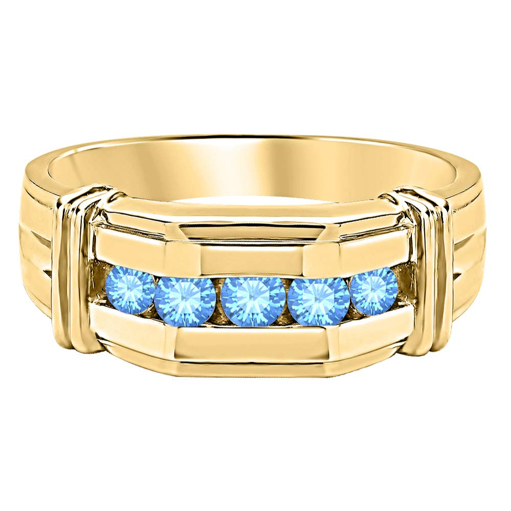 tusakha Five Stone Round Cut Gemstone 14K Yellow Gold Plated 925 Sterling Silver Engagement Ring for Mens