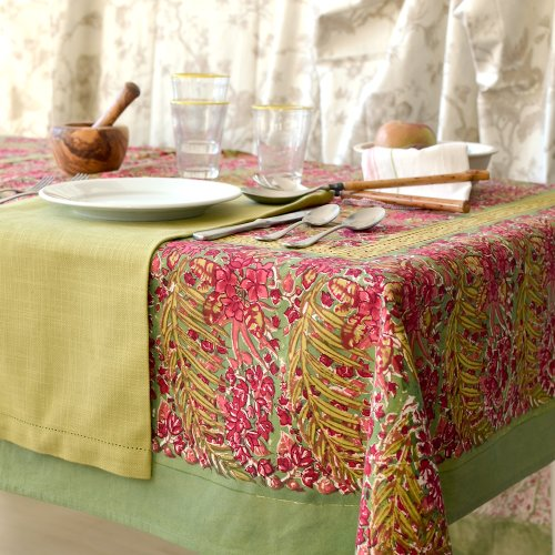 Couleur Nature Bougainvillea Tablecloth, 90-inches by 90-inches, Green/Red by Couleur Nature (Image #1)