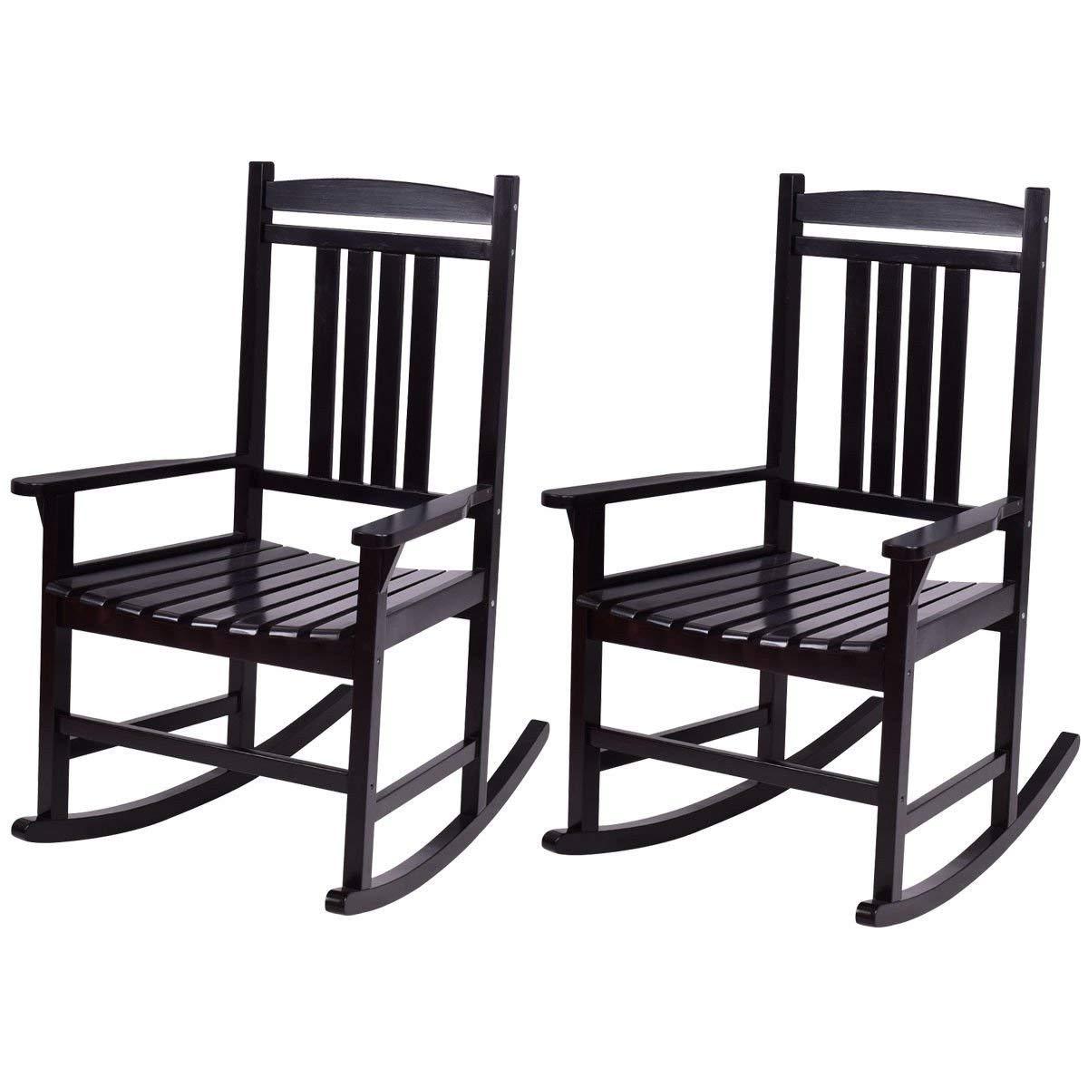Casart Set of 2 Wood Rocking Chair Outdoor Indoor Patio Porch Rocker for Porch, Patio, Living Room, Black