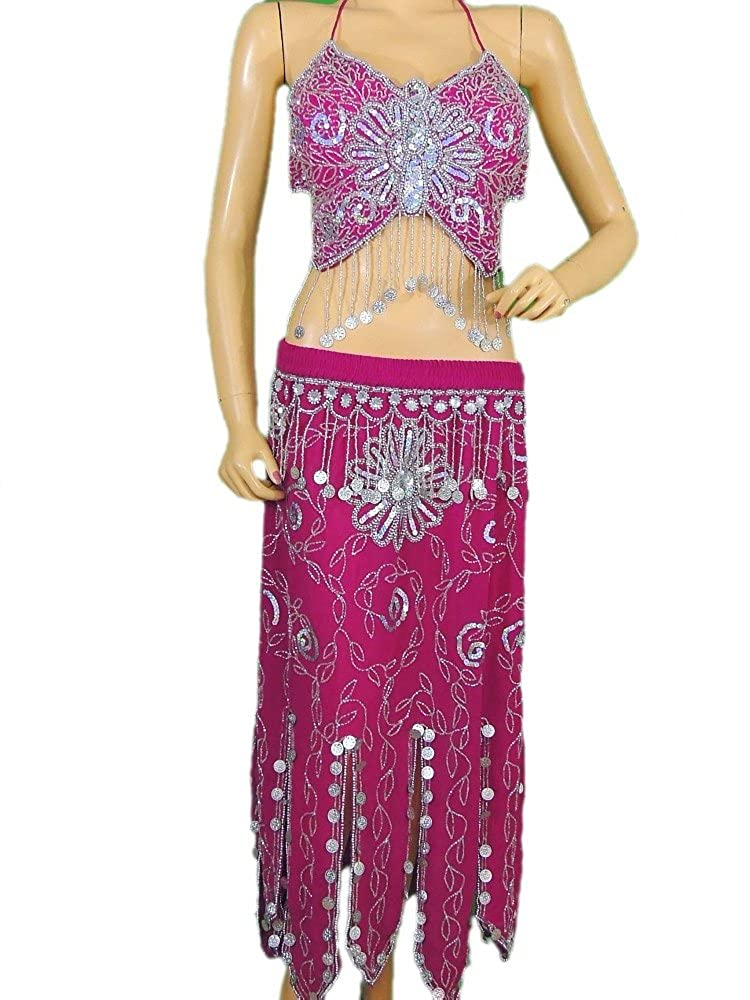 906e18003327 Amazon.com: Pink Belly Dance Costume Exotic Dancer Clothing Halter Choli Bra  Coin Skirt M: Clothing