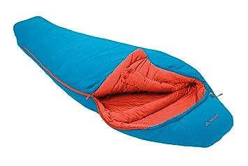 VAUDE Kunstfaserschlafsack Kiowa 900 - Saco de dormir momia para acampada, color azul claro/verde, talla Derecha: Amazon.es: Deportes y aire libre
