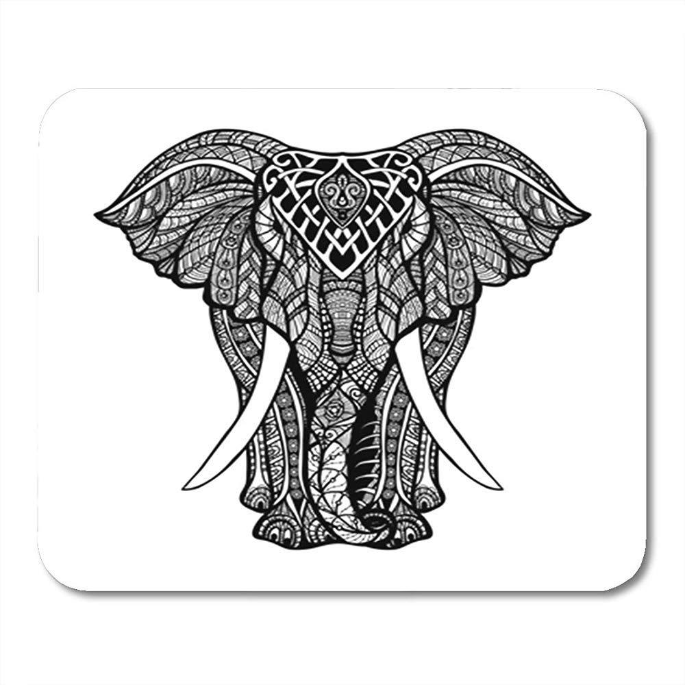 Alfombrilla de ratón para Juegos Tatuaje Elefante Vista Frontal ...