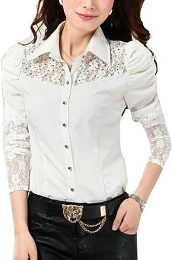 ZAMME Mujer de Manga Larga de Encaje Empalmado Delgado Camisa Body Blusa Superior: Amazon.es: Ropa y accesorios