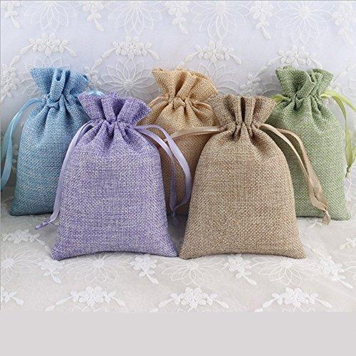 25 4 x 6 multi Burlap Bags; Satin Drawstring
