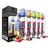 Sharpro 32 oz. Infuser Water Bottles - Featuring a Full Length Infusion Rod, Flip Top Lid, Dual Hand Grips (Serenity)