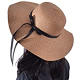 Yeeasy Womens Wide Brim Sun Hat Floppy Foldable Bowknot Straw Summer Beach Hat (Khaki)