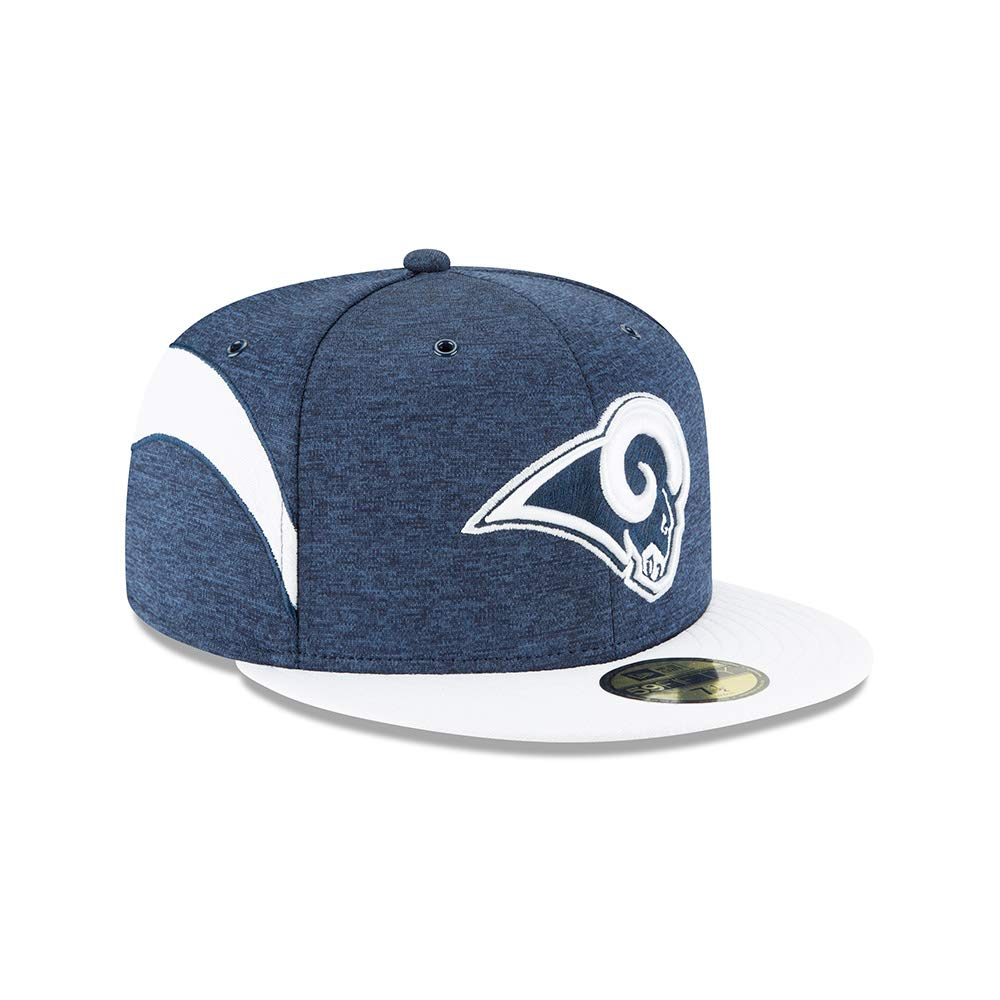 5379b6e956b Amazon.com   New Era Los Angeles Rams 2018 NFL Sideline Home Official  59FIFTY Fitted Hat - Navy White   Sports   Outdoors