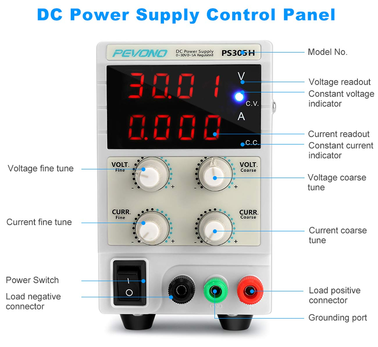 Best DC Bench Power Supply, Pevono PS305H 30V/5A 4 Digital LED Desktop Switching Variable Power Supply Voltage&Current Regulated Supply Power Source For Lab Repair,Electronic Tester, Power Calculator by Pevono (Image #3)