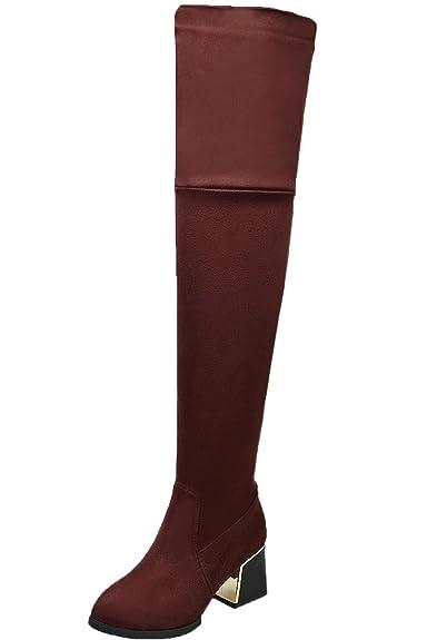 BIGTREE Lange Stiefel Damen Bequem Casual Reißverschluss Blockabsatz Herbst Winter Knie Hohe Stiefel von Blau 41 EU hSMzzH