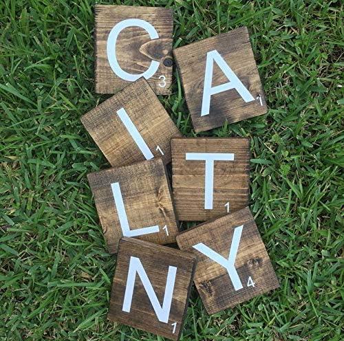 CELYCASY bloques de nombres de guardería de nogal oscuro | letras de bloque de guardería |