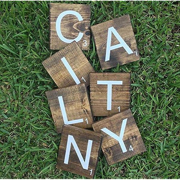 CELYCASY bloques de nombres de guardería de nogal oscuro | letras de bloque de guardería | letras de guardería | letras de nombre | signos de nombres | nombres de letras Scrabble |