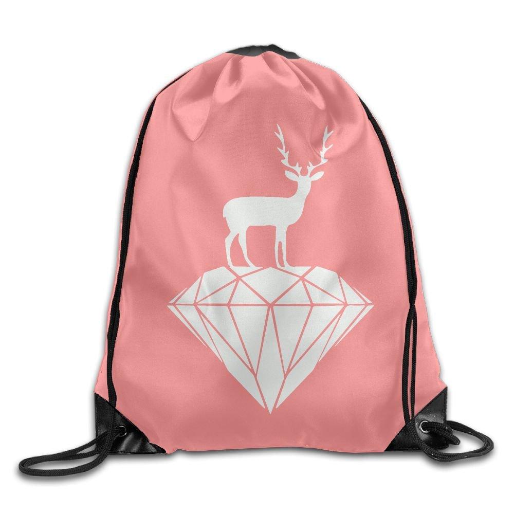 Elk Diamonds Drawstring Backpack Rucksack Shoulder Bags Training Gym Sack For Man And Women