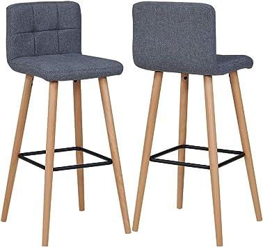 2X Barhocker Barstuhl aus Stoff Leinen Drehstuhl Gestell aus Buche Tresenhocker Bar Sessel gut gepolstert mit Lehne Farbauswahl Duhome 5117A,