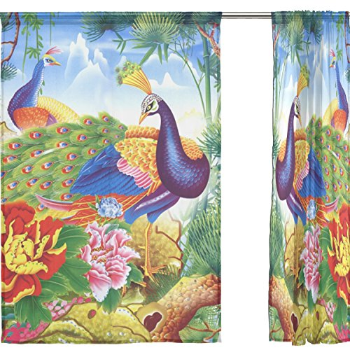 INGBAGS Bedroom Decor Living Room Decorations Peacock Pattern Print Tulle Polyester Door Window Gauze / Sheer Curtain Drape Two Panels Set 55x78 inch ,Set of 2