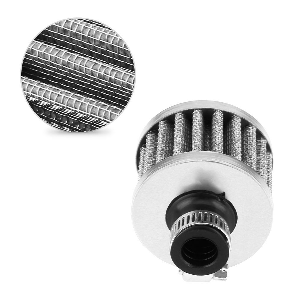 Sliver 13mm Universal Car Clamp-On Cold Air Intake Filter Kit Auto Air Intake Filter for Scooter Atv Dirt Pit Bike Motorcycle Crankcase Vent Cover Breather