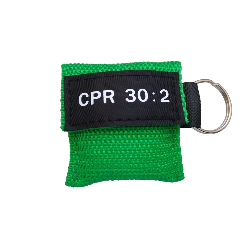Elysaid 10 pcs Cpr Mask with Keychain Cpr Face Shield Aed Green Pouch Writing Cpr 30:2