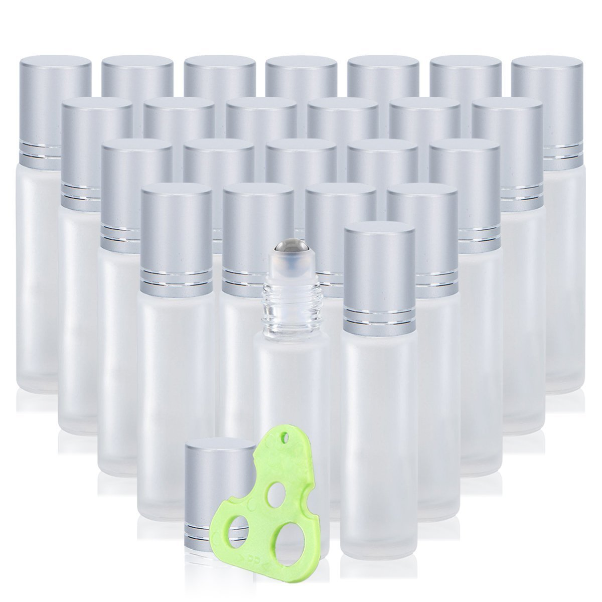 Olilia 10 ml Frosted Glass Roll on Bottles with Metal Roller Balls, 24 Pack, Essential Oils Opener