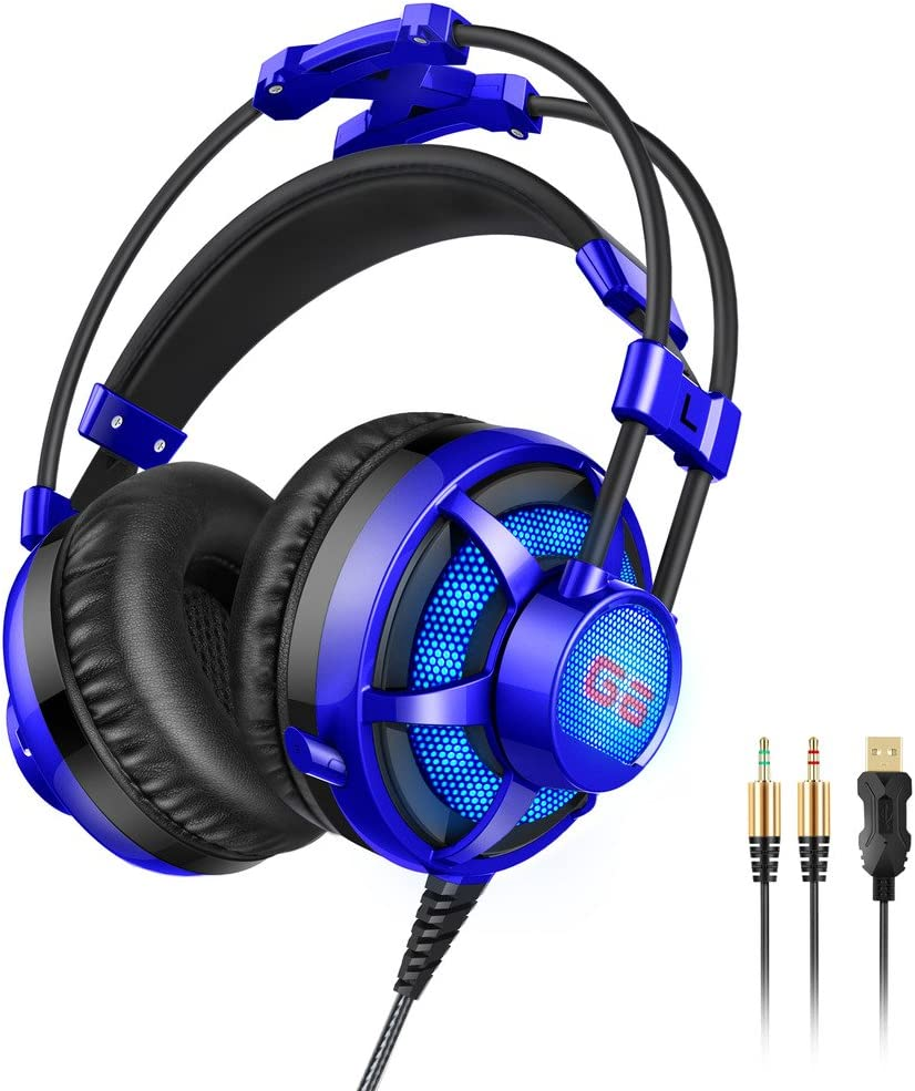Honstek G6 Stereo Gaming Headset, 3.5mm LED Over Ear Headphones with Mic for PC Game and Music(Blue)