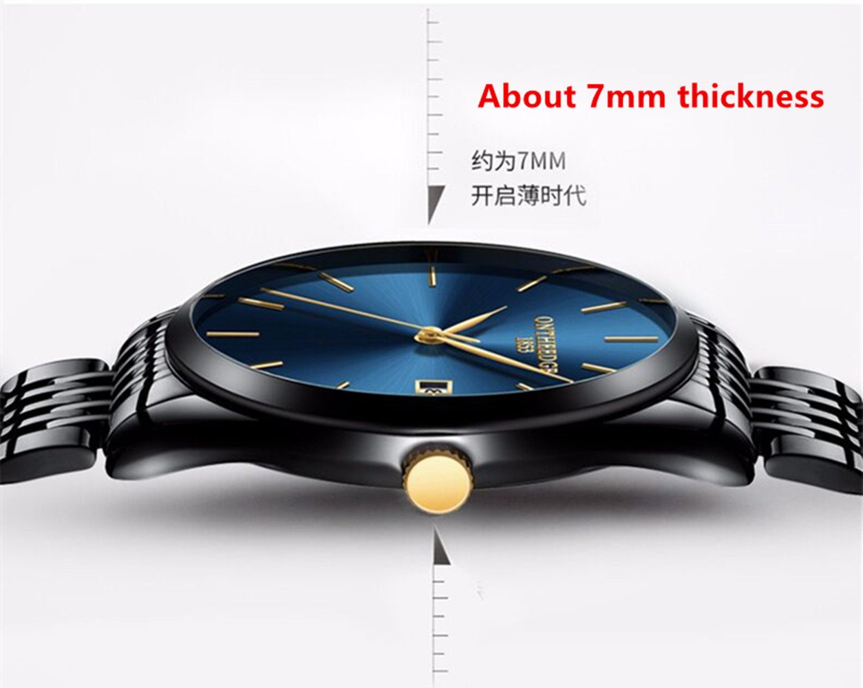 L& H Jewelry Mens Business Watch Fashion Super Thin Quartz Movement Analog Watch Pointer Display Watch (Pure Blak) by L & H Jewelry (Image #3)
