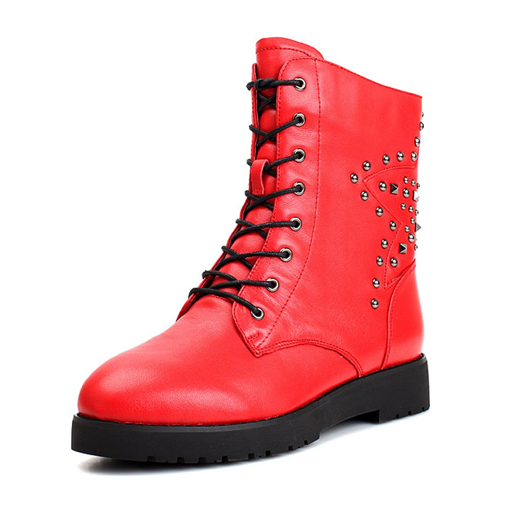 Woman's Martin boots autumn and winter leather straps zipper fashion waterproof flat short boots ( Color : Red , Size : US:5.5UK:4.5EUR:36 )