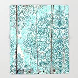 Society6 Teal & Aqua Botanical Doodle on Weathered Wood Throw Blankets 88'' x 104'' Blanket