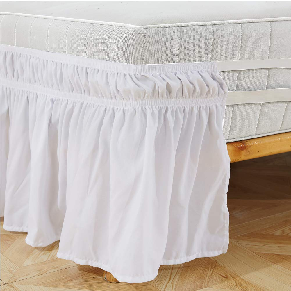 Creative Wrap Around Bed Skirt Polyester Elastic Anti Dust Ruffle Fabric Sides Silky Soft Bed Skirt Wrinkle Free Classic Stylish Bed Skirt 1pc White US-Queen Type