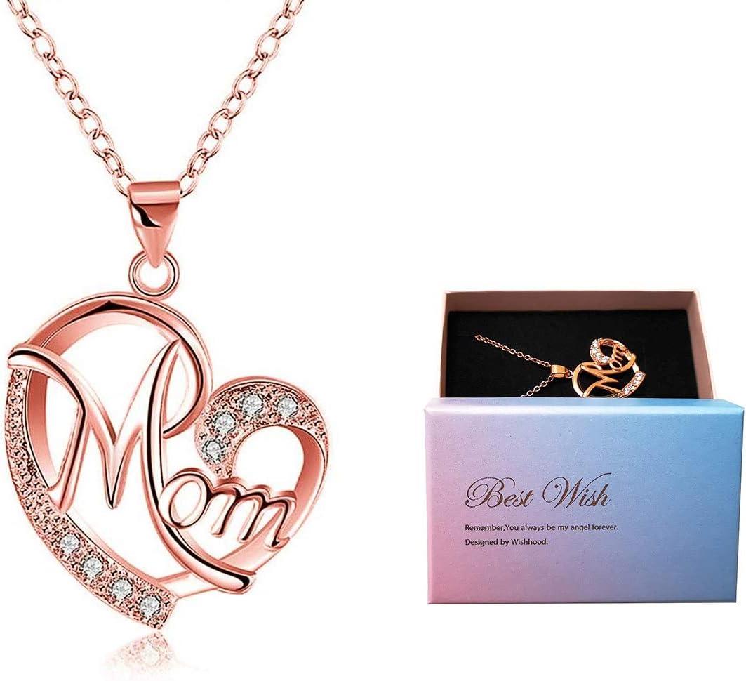 Día de la madre regalo, Deesos Collar El mejor regalo para el cumpleaños de la madre Corazón Diamante, Collar colgante para el cumpleaños de mamá Oro rosa