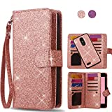 AYMECL LG K10 2018 Wallet Case,LG K30 Case,LG K10+ 2018 case[Glitter Sparkly Style][Detachable] Faux PU Leather Magnetic Snap Closure Case with ID and Credit Card Pockets for LG K10 2018-LC Rose Gold For Sale