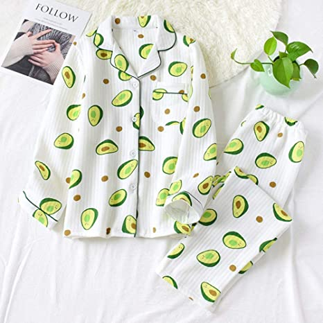 ABMBERTL Pijama Espesar Aguacate Verde Fresco Ropa de Dormir Mujer Pijamas Conjuntos Invierno cálido algodón Buceo Manga Larga Ropa de Dormir Mujer Pijama: Amazon.es: Deportes y aire libre