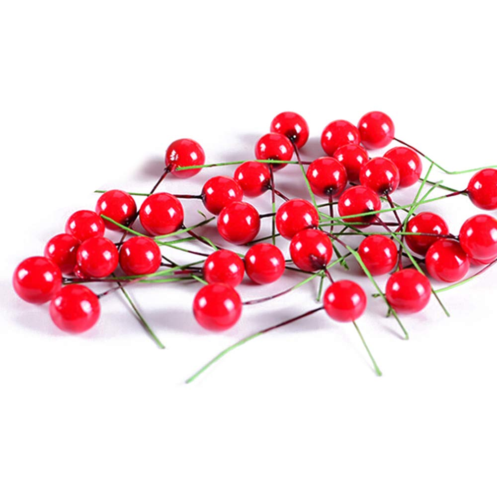 Tuangexportabl 200pcs Artificial Red Cherry Berry Christmas Berry Decorations Artificial Small Berries Red Cherry Berry Hanging Ornaments Holiday Festival