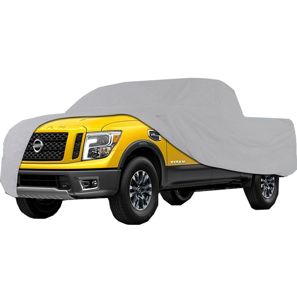 Big Ant Truck Cover All Weather Protection Waterproof Pickup Truck Cover Universal Fit for Full Size Truck with Short Bed Crew Cab up to 232'' L,Silver
