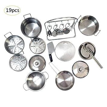 LiféUP Juegos De Sartenes Y Ollas, 32 Piezas Kit De Juguetes De Cocina Vajillas De