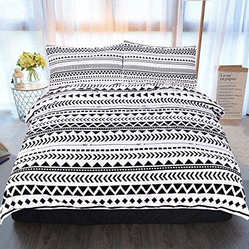 Sleepwish 3 Piece Aztec Bedding Striped Duvet Cover with Black White Geometric Pillow Cover Tribal Bed Set (Twin)