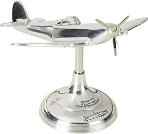 Authentic Models, Spitfire Travel Plane, Aircraft Desktop Home Decor - Highly Polished Silver