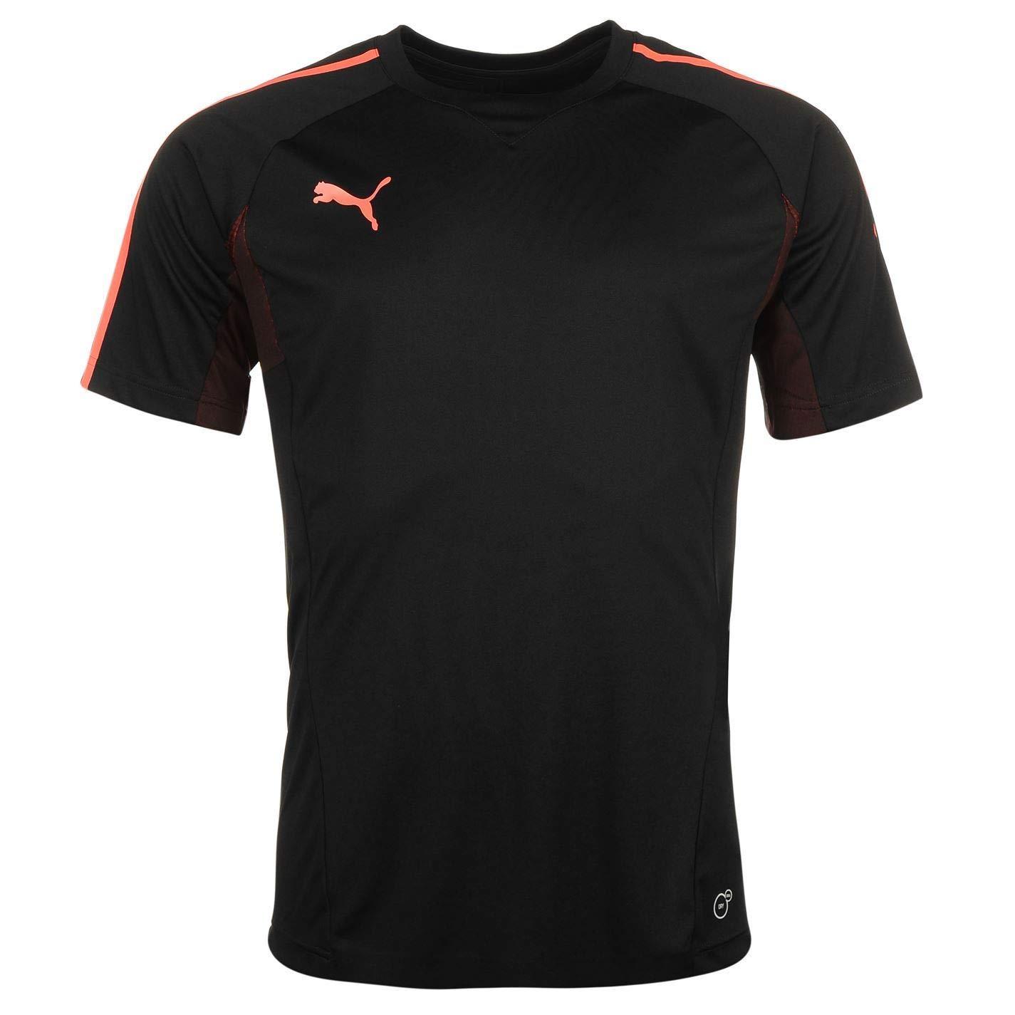 Official Football Puma Evo Tech Trainings-T-Shirt für Herren, Schwarz Korallenrot