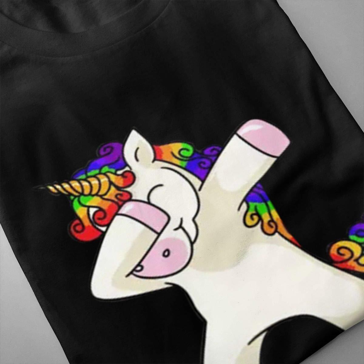 Smooffly Men Rainbow Unicorm Fashion Crew-Neck Short Sleeves T-Shirts