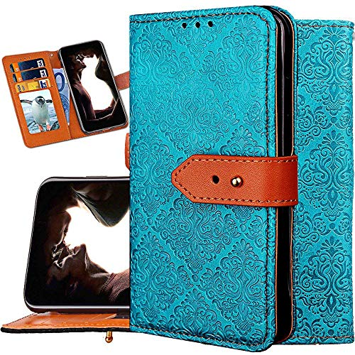 iPhone Xs Max Wallet Case,Auker Folio Flip Vintage Leather Folding Stand Slim Wallet Case with Card Holder&Money Pocket Full Body Shock Drop Scratch Protection Purse Case for iPhone Xs Max (Blue)