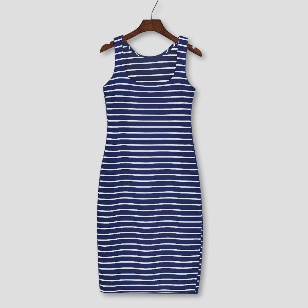 Women Stripe Print O-Neck Sleeveless Tank Top Dress Side Split Tank Dress Fashion Casual Mini Dress
