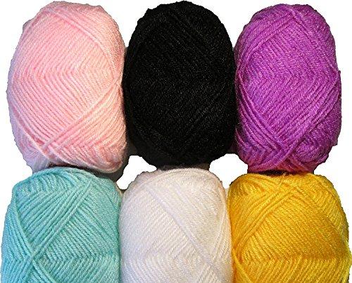 Vardhman Bunny Mix 6 Wool Ball Hand Knitting Wool/Art Craft Soft Fingering Crochet Hook Yarn, Needle Acrylic Knitting Yarn Thread (Hand Dyed Wool Threads)