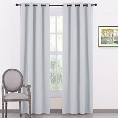 PONY DANCE Living Room Curtains - Room Darkening Curtains and Drapes Home Decor Elegant Grommet Top Panels/Window Treatments Light Blocking, 52 by 84 inches, Greyish White, 2 PCs