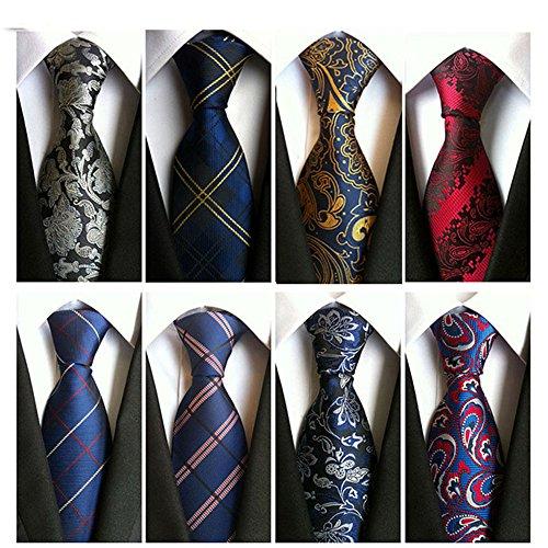 YanLen Lot 8 PCS Classic Men's Tie Wide Wedding Necktie Woven JACQUARD Neck Ties