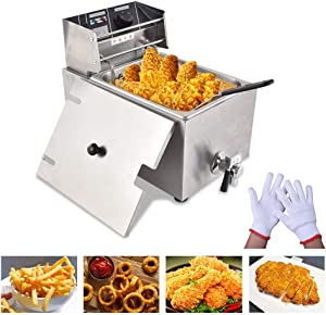 Peitten® Electric Deep Fryer with Basket & Lid & Oil Valve & Temperature Lir | Upgrade Professional Commercial Frying Machine | Stainless Steel French Fryer (Deep Fryers, 8L with Oil Valve)