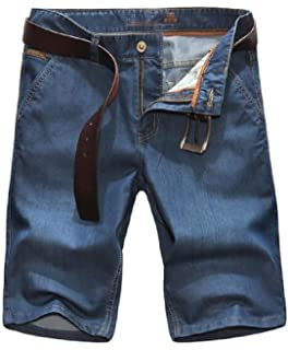 OTW Mens Straight Leg Beach Casual Roll-Up Ripped Destroyed Denim Shorts Jeans