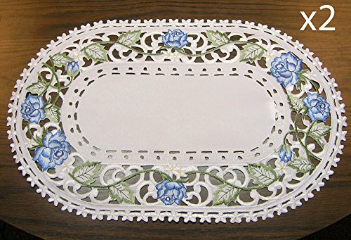 BANBERRY DESIGNS Embroidered Victorian Blue Rose Flower Placemats - Set of 2 - Placemats Approx. 11
