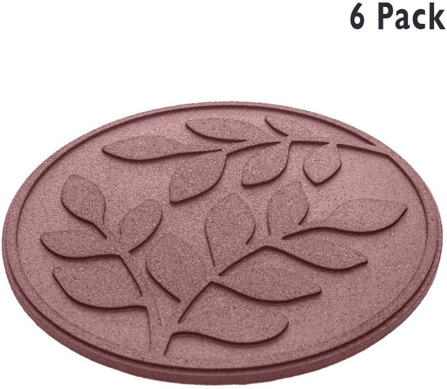 "REVTIME Rubber Garden Stepping Stone with Olive Leaves Design 17-3/8"", 3/4"" Thick for Home, Garden, Lawn (Pack of 6) Terra Cotta"