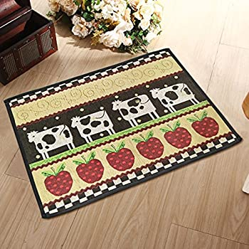 Yazi Cow Apple Jacquard Cotton Fiber Rectangular Entrance Mat Home  Doormat,17x23 Inch