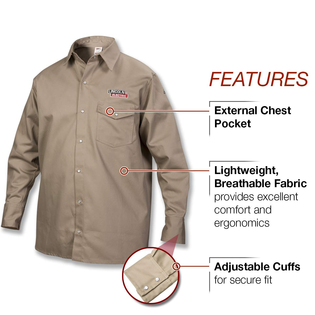 Lincoln Electric Welding Shirt | Premium Flame Resistant (FR) Cotton | Custom Fit | Khaki / Tan | Large | K3382-L by Lincoln Electric (Image #3)