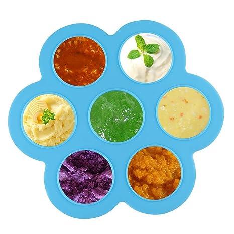 atkke silicona huevo Bites moldes para casero comida para bebé con cuchara, reutilizable de almacenar comida y congelador bandeja con tapa sin BPA (azul): ...